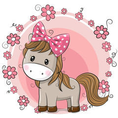 Greeting card Cute Horse with flowers