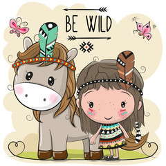 Cute Cartoon tribal girl and Horse with feather