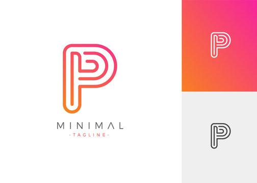 Minimal Line Letter Initial P Logo Design Template. Vector Logo Illustration
