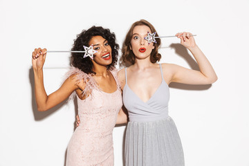 Portrait of two happy well dressed women