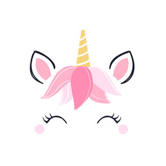 Modern unicorn face background with copy space.
