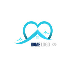 Love Home blue Logo Template. vector. on white background