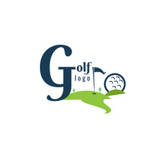 Golf Logo Template. Lanscape Design. vector. on white background. icon. font