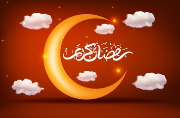 Ramadan Kareem greeting background with islamic crescent moon and arabic pattern