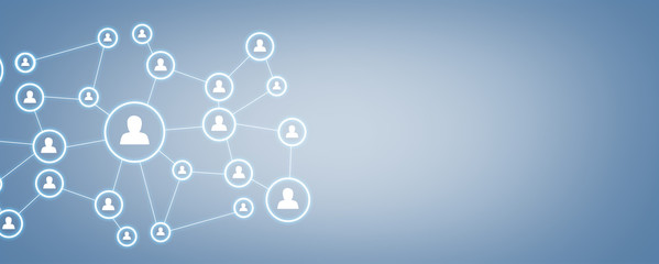 Business connection and social network on blue background.