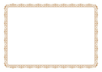 Floral style gold frame for certificate or book page border