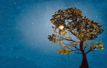 Illustration of autumn tree on background starry night with marble paper effect and space for your text.