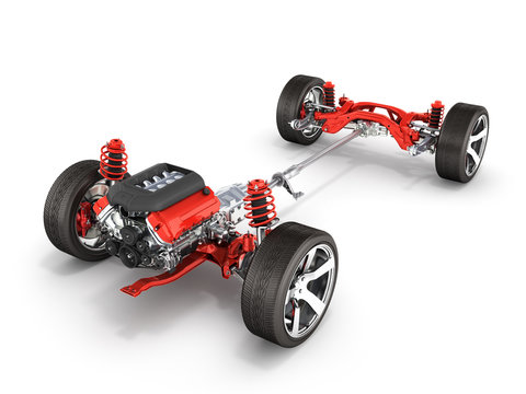 Undercarriage in detail Suspension of the car with wheel and engine isolated on white background 3d