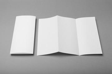 White empty fold leaflet tri fold DL flyer brochure, mockup.