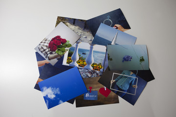 Stack of the photos, isolated on a white background