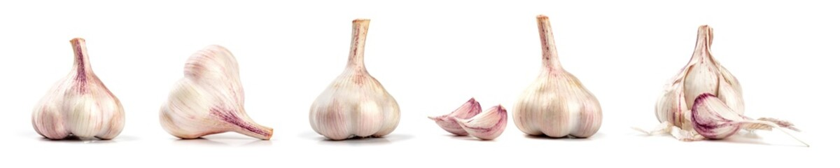 Collection of fresh garlic isolated on white