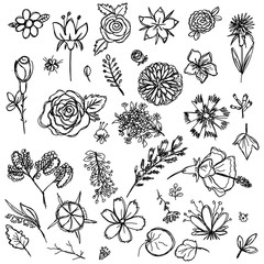 set of different colors drawn in the style of children's drawing fast by hand, sketch vector graphics monochrome drawing