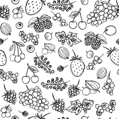 seamless texture depicting children's drawings of berries painted quickly by hand, sketch vector graphics monochrome drawing
