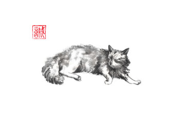 Lazy cat Japanese style original sumi-e ink painting.
