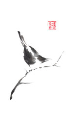 Japanese style sumi-e painting with magpie on a tree.