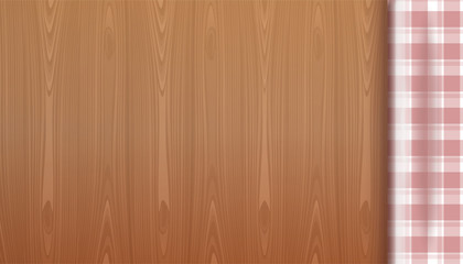 Checkered tablecloth on a wood background. Top view of a wooden table. Wooden table with red picnic tablecloth and copyspace. Realistic vector illustration