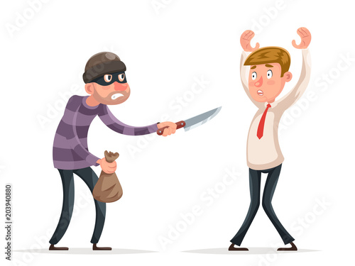 b2cdb1132bd Robbery thief robber burglar steal money bag helpless scared businessman  guy man character isolated Icon cartoon design vector illustration