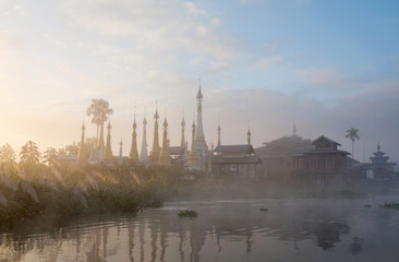Misty morning on Inle lake, Shan state, Myanmar