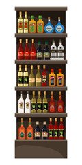 Shelves with alcohol. Drinks