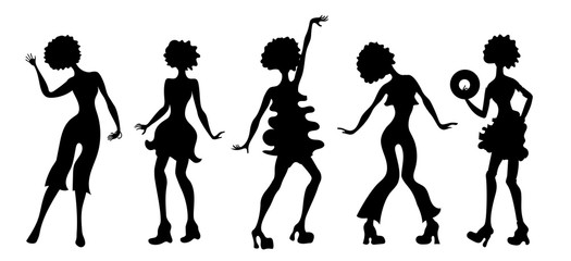 Soul Party Time. Dancers of soul silhouette funk or disco.People in 1980s, eighties style clothes dancing disco, cartoon vector illustration. Retro woman in 80s style clothing and hairstyle