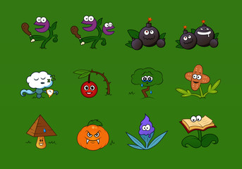 A set of different creative and crazy fantasy plants in cartoon style