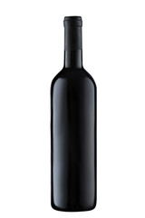 Front view  red wine blank bottle isolated on white background
