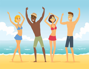 Happy friends on the beach - cartoon people character illustration