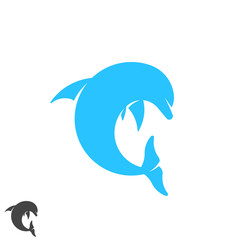 Dolphin logo round shape jumping marine animal above waves. Spa, sport, resort, tourism, travel, diving club identity emblem. Letter C form symbol.