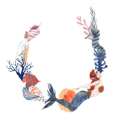 Watercolor frame with mermaid, seashells, corals, fish, seahorse and seaweed on white watercolor background