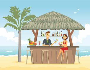Woman at the beach bar - cartoon people character illustration