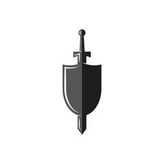 Shield and sword logo, weapon of the medieval knight, Historical Medieval Battles tournament emblem