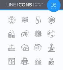 Modern technology - vector line design style icons set