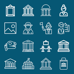 Set of 16 museum outline icons