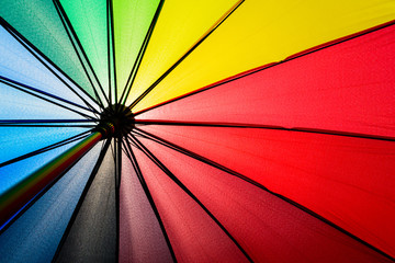Bottom view of Rainbow umbrella texture background. Summer holiday and vacation concept.