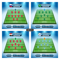 Soccer team player plan. Group A with flags RUSSIA, SAUDI ARABIA, EGYPT, URUGUAY.