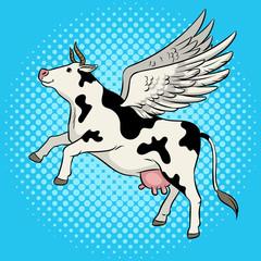 Flying cow farm animal pop art vector illustration