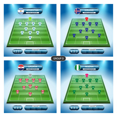 Soccer team player plan. Group D with flags ARGENTINA, ICELAND, CROATIA, NIGERIA.