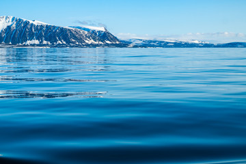 A view of the Arctic island from the sea, beyond the ocean, you can see the shore, the mountains covered with snow and the glacier slipping into the water, the Arctic, the Barents Sea.