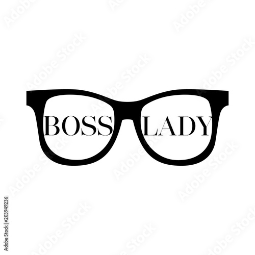 543d9d4f5 Sunglasses with words boss lady on a white background. Fashion Modern  Stylish Black woman Glasses. Vector illustration isolated on white  background