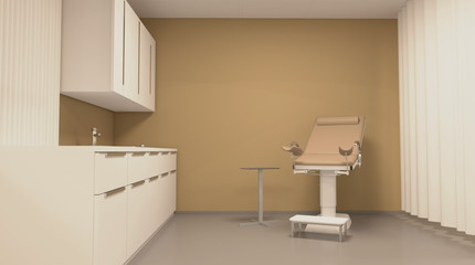Gynecologist Office, Examination of the gynecologist. 3D rendering.