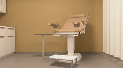 Gynecological cabinet with equipment. 3D rendering.