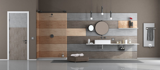 Modern bathroom with washbasin and shower