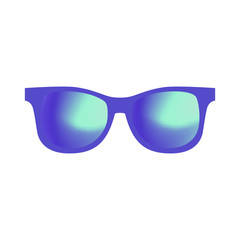 Illustration of Sunglasses Reflecting Outer Space. Gradient sunglasses lenses. Fashionable summer vector illustration. Vector illustration isolated on white background