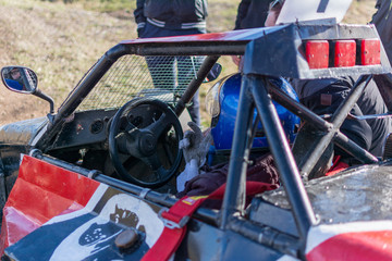 Driver gettting ready for a race start in a self made racing buggy