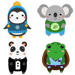 Cute exotic animals. Cartoon kawaii wildlife animals set