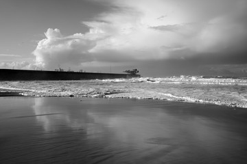 Black and white sea beach