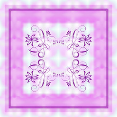 Vector pink floral pattern in a square on a blurry abstract mesh background for design of a silk neck scarf