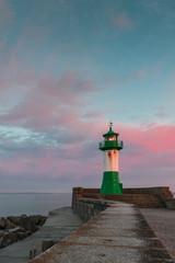 Sonnenuntergang Leuchtturm, Molenfeuer Sassnitz - Ruegen, Ostsee