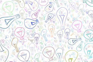 Light bulbs illustrations background abstract, hand drawn. Template, color, digital & energy.