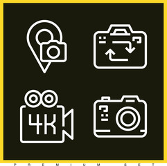 Set of 4 photography outline icons